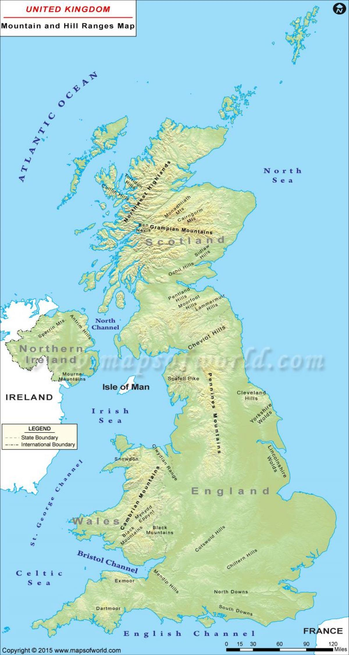 Storbritannien Bergen Karta Storbritannien Bergskedjor Karta